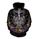 Unique Galaxy Colorful Owl Abstract Pattern Long Sleeves Black Drawstring Hoodie