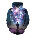New Fashion 3D Galaxy Lion Printed Long Sleeve Relaxed Fit Drawstring Hoodie