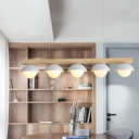 Straight Isalnd Light Asia Wood 5 Heads White Ceiling Suspension Lamp with Domed Metal Shade