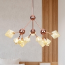 Rose Gold Starburst Chandelier Light Contemporary 9 Bulbs Metal Suspended Lighting Fixture with Amber Glass Shade