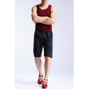 Summer Fashion Plain Drawstring Waist Loose Fit Plain Shorts for Men