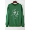 Womens Stylish Rose Letter GIRL POWER Printed Long Sleeve Round Neck Pullover Sweatshirt