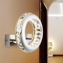 Nickle Circle Wall Sconce Lighting Contemporary LED Stainless Steel Wall Light Fixture in Warm/White Light