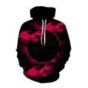 Fashion Universe Planet and Clouds 3D Pattern Long Sleeve Relaxed Loose Black Hoodie