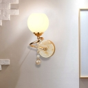 1 Bulb Frosted Glass Sconce Traditionalist Gold/Chrome Dome Living Room Wall Mounted Light