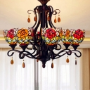 Bowl Chandelier Lighting Fixture 6 Lights Handcrafted Art Glass Baroque Drop Lamp in Red/Yellow/Blue for Living Room