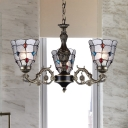 Bubble Glass Bronze Hanging Chandelier Bell 3/6/8 Heads Tiffany Suspension Lighting Fixture for Restaurant