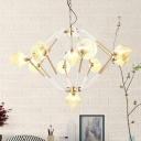 Diamond Bedroom Chandelier Light Modernism Amber Glass 10 Heads Pendant Lighting Fixture