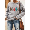 Women's Basic Long Sleeve Crew Neck Christmas Tree Pattern Relaxed Fit Pullover Sweatshirt in Gray