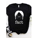 Creative FACT Letter Printed Crew Neck Roll-Up Short Sleeve Casual Graphic Tee