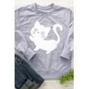 Lovely Kitten Pattern Long Sleeve Crewneck Casual Pullover Sweatshirt