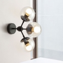 Modern 3 Bulbs Sconce Light Black Globe Wall Mounted Lighting with Clear Glass Shade
