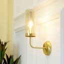 Metal Curvy Arm Sconce Contemporary 1 Bulb Brass Wall Mount Light Fixture for Stairway