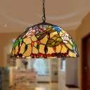 Beige Cut Glass Ceiling Chandelier Dragonfly 3 Lights Mediterranean Hanging Lamp Kit for Dining Room