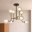 Modern 8/16 Heads Chandelier Lamp Black-Gold Orb Hanging Light Kit with Clear Glass Shade