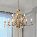 6/9 Lights Crystal Ceiling Chandelier Minimalism Brass Curved Arm Living Room Hanging Lamp