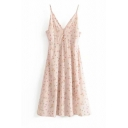 Pretty Pink Sleeveless All Over Floral Print Pleated Zip Back Mid A-Line Cami Dress for Girls