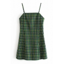Summer Sleeveless Plaid Printed Zipper Back Mini A-Line Cami Dress for Girls