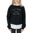 Lovely CAT MOM Printed Long Sleeve Crew Neck Graphic Pullover Sweatshirt