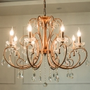Candle-Style Kitchen Chandelier Rural Style Crystal 3/6/8 Lights Brass Pendant Light Fixture