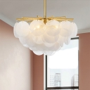 Crystal Gold Chandelier Lighting Fixture Round 5 Lights Simple Hanging Pendant Light
