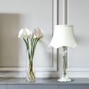 K9 Crystal White Table Light Candlestick Single Bulb Vintage Night Lamp with Flared Fabric Shade