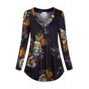Fashion Women's Long Sleeve V-Neck All Over Floral Printed Ruched Curve Hem Loose Fit Blouse Top