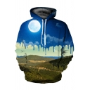 Creative Landscape Earth 3D Printed Long Sleeves Pullover Hoodie for Guys