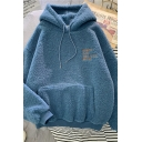 Warm Casual Long Sleeve Drawstring Letter NOBODY SAID THIS WOUL BEFUN Kangaroo Pocket Loose Teddy Hoodie for Girls