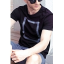Men's Creative Square Letter Printed Short Sleeves Round Neck Summer T-Shirt