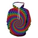Unisex Popular Colorful Vortex 3D Print Long Sleeves Sports Hoodie