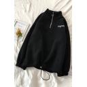Chic Street Girls' Long Sleeve Stand Collar Half Zipper Letter MGSM Drawstring Hem Oversize Pullover Sweatshirt