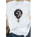 Unique Galaxy Planet Hot Air Balloon Pattern Short Sleeves Crew Neck White T-Shirt