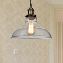 Barn Shade Pendant Lamp Industrial Style Clear Glass 1 Light Dining Room Ceiling Fixture