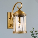 Lantern Foyer Wall Lamp Traditional Metal 1 Head Gold Wall Mounted Light with Clear Glass Shade