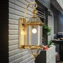 1 Bulb Metal Wall Sconce Traditional Gold Geometric Entry Wall Mounted Light Fixture