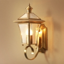 Metal Lantern Sconce Light Traditionalism 1 Head Foyer Wall Mounted Lamp in Brass