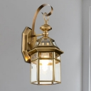 Metal Brass Sconce Light Caged 1 Head Traditionalism Wall Mounted Lamp for Outdoor
