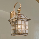 Metal Brass Wall Sconce Lighting Lantern 3-Light Traditional Wall Light Fixture for Foyer