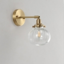 Minimalist Single Wall Light Golden Metal Bent Arm Sconce Lighting Fixture with Champagne/Clear Ribbed Glass Globe Shade