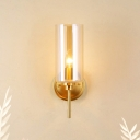 Cylinder Living Room Sconce Light Brass Finish Glass Single Bulb Modern Wall Mounted Lamp