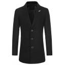 Mens Chic Leaf Decoration Notched Lapel Long Sleeve Button Front Longline Woolen Coat