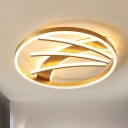Acrylic Circle Ceiling Lamp Postmodern Gold LED Flush Mount Fixture in Remote Control Stepless Dimming/Warm/White Light