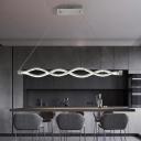 Silver Twist Chandelier Lighting Modernist LED Crystal Pendant Light Fixture for Dining Room