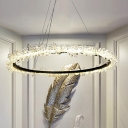Circular Hanging Chandelier Contemporary Crystal 16