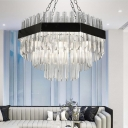Silver Layered Chandelier Lighting Modernism 10 Bulbs Crystal Ceiling Hanging Light for Living Room