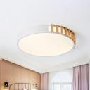 White Drum Ceiling Lamp Macaron Acrylic 16