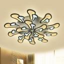 White Radial Flush Mount Light Modern Acrylic LED Ceiling Fixture in White/Warm/Natural Light