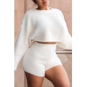 Elegant Long Sleeve Cropped Loose Top with Shorts Plain Cashmere Two Piece Set