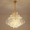 8 Heads Clear Hexagon Crystal Hanging Ceiling Light Traditional Gold Tiered Living Room Chandelier Light